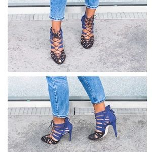 ZARA Lace Up Colour Block Heels